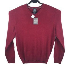 NWT Jos A Bank Red Wool Pullover V Neck Sweater L